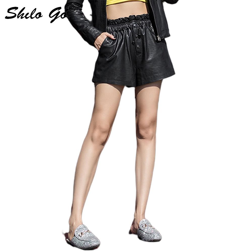 Повседневные кожаные шорты женские уличные кружевные однобортные овчины из натуральной кожи Широкие шорты женские горячие шорты