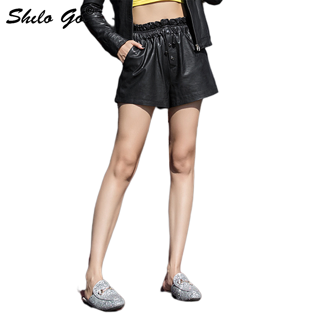 Casual Leather Shorts Womens Streetwear Lace Up Single Breasted Sheepskin Genuine Leather Wide Leg Shorts Female Hot Shorts
