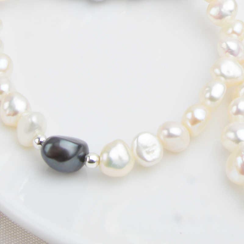 ASHIQI 7-10 мм настоящий натуральный пресноводный барочный жемчуг, браслеты и браслеты для женщин, 925 серебряные бусы, ювелирное изделие, подарок