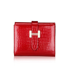 Genuine leather women's short design wallet fashion classic crocodile pattern purse new pattern female Wallets Split leather