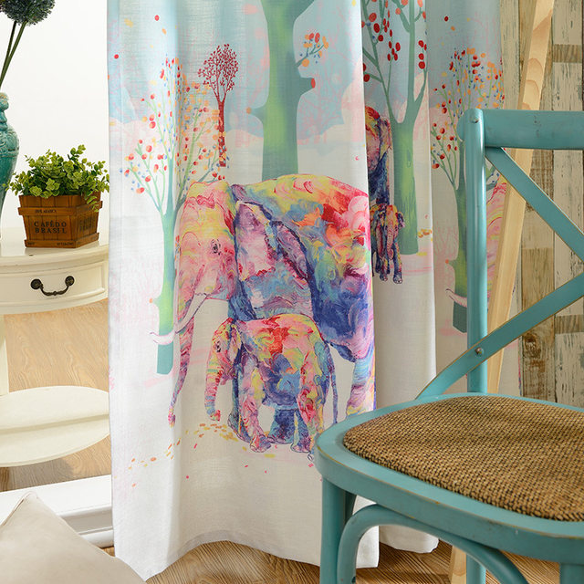New Color 3D Digital Printing Cartoon Elephant Curtains Children Room Shade Finished Product Customization