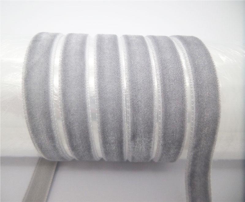 """DIY 5 ярдов 3/"""" 10 мм мягкая удобная бархатная лента много цветов на выбор - Цвет: gray"""
