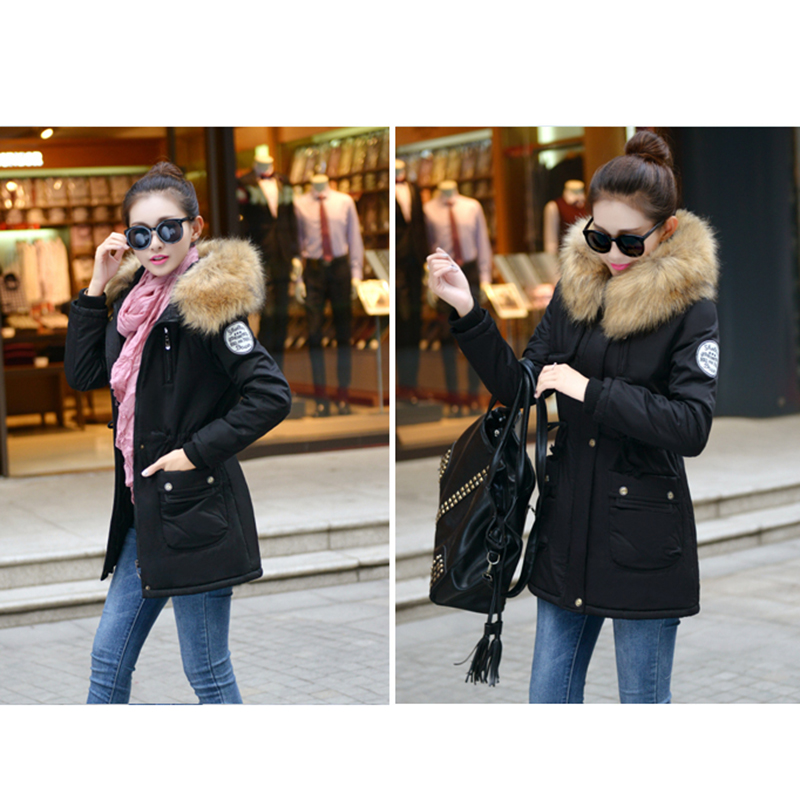 Adjustable Waist Women Parkas Big Pockets Fur Hooded Long Coats Female Outwear Cotton Warm Winter Ladies Jackets Coat MDEW541 5
