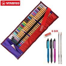 Stabilo Point 88 ปากกา Fineliner ชุดลูกกลิ้ง 0.4 มม. Art Marker การวิเคราะห์วาด 25 สีเจลปากกายางลบดินสอ