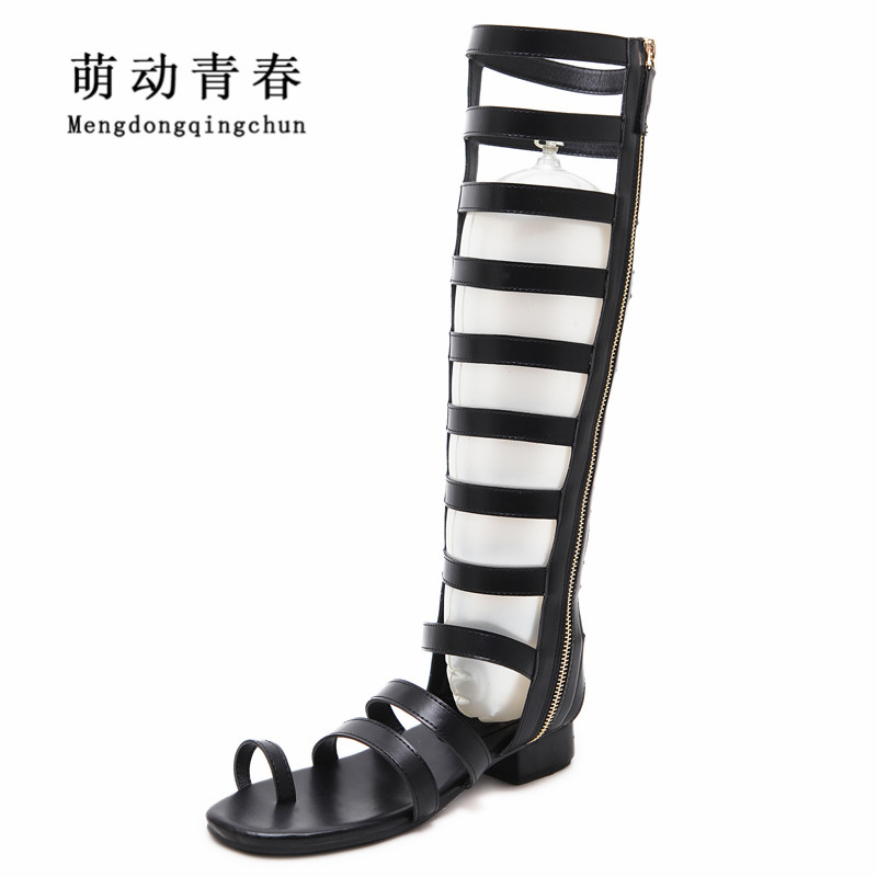Fashion Women Sandals Gladiator Casual Flat Heel Shoes Women Peep Toe Zip Knee High Summer Sandals fashion summer gladiator women flat fashion shoes casual occasions comfortable sandals round toe casual peep toe flat shoes s