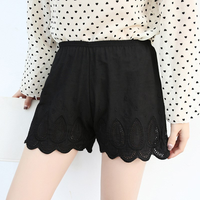 2019 Summer High Waist Shorts Breathable Jacquard Knickers Sexy Lace White Shorts Casual Shorts