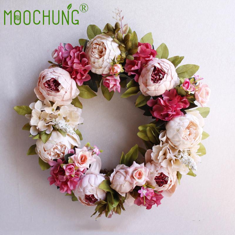 40CM Artificial Wedding Wreaths Silk Peony Flowers Door Wall ...