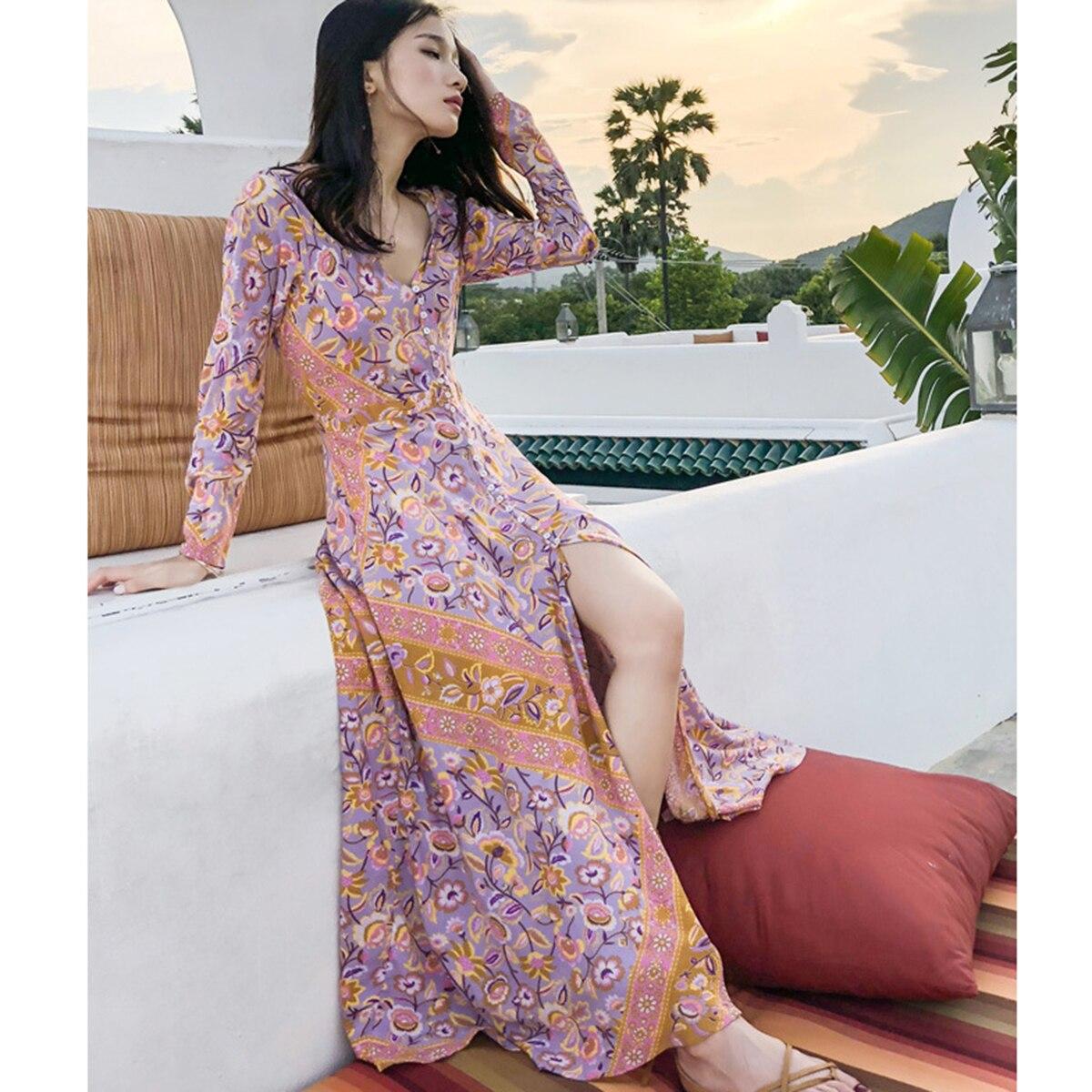 Rose Floral Boho Maxi Robe Femmes 2019 Été Automne À Manches Longues Col En V Bouton-up Sexy Robe Élégante Plage D'impression gypsy Long Robe