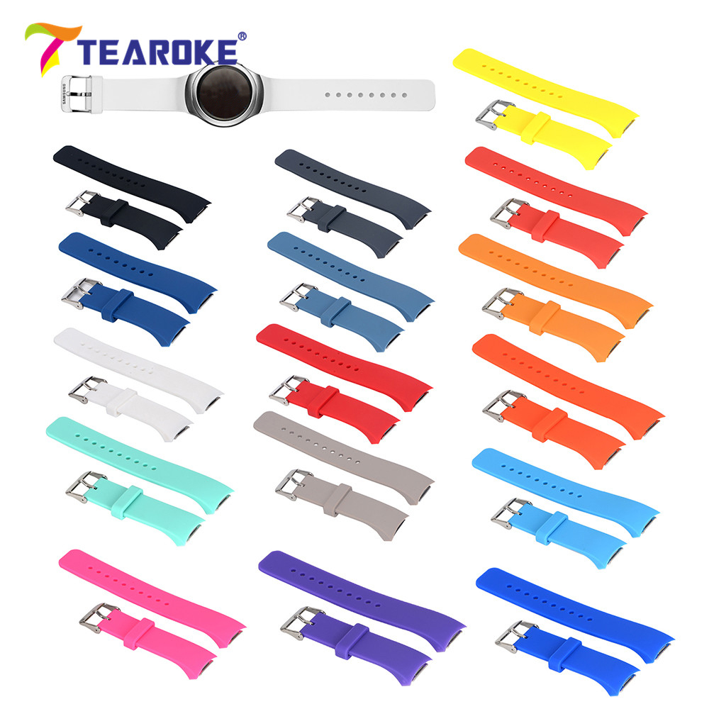 TEAROKE 16 Colors Silicone Watchband for Samsung Galaxy Gear S2 R720 R730 Band Strap Sport Watch Replacement Bracelet SM-R720 2016 silicone rubber watch band for samsung galaxy gear s2 sm r720 replacement smartwatch bands strap bracelet with patterns