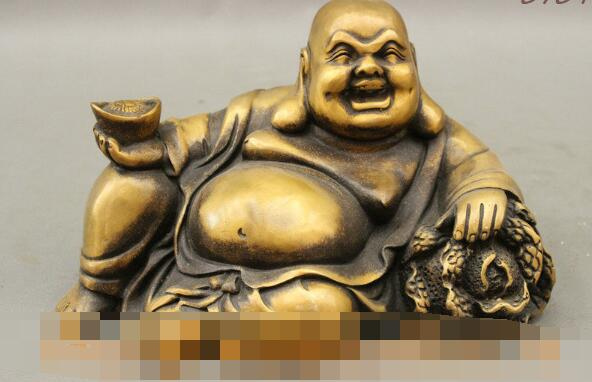 S4108 8 Folk Chinese Bronze Buddhism Happy Laugh Maitreya Cai Wealth Buddha StatueS4108 8 Folk Chinese Bronze Buddhism Happy Laugh Maitreya Cai Wealth Buddha Statue