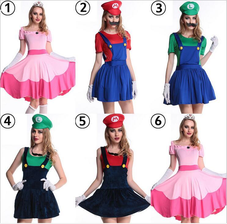 f3a8deec99 Super Mario traje mujeres Luigi traje ropa traje sexy fontanero Mario Bros  fantasia Super Mario Bros trajes para adultos en Disfraces sexy de mujer de  La ...