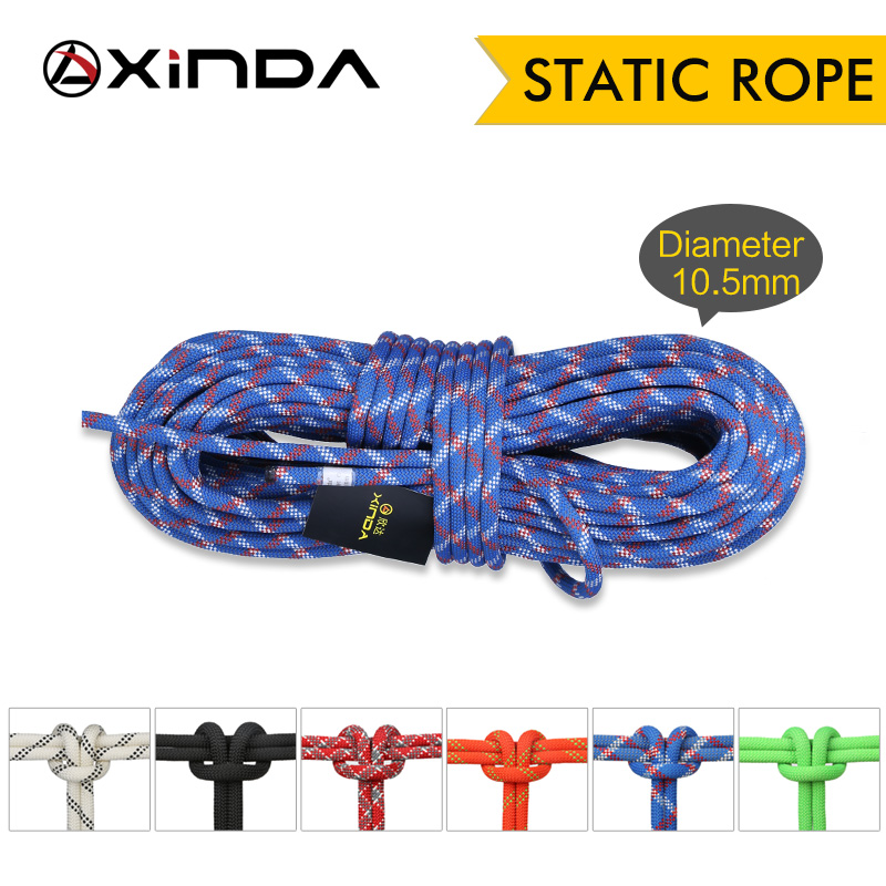 XINDA Camping Rock Climbing Rope 10.5mm Static Rope Diameter High Strength Lanyard Safety Climbing Equipment Surviva