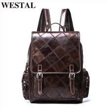 Westal плед женщины рюкзак натуральная кожа рюкзак для девочек-подростков, рюкзаки женские школьные сумки кожаные ноутбук рюкзаки