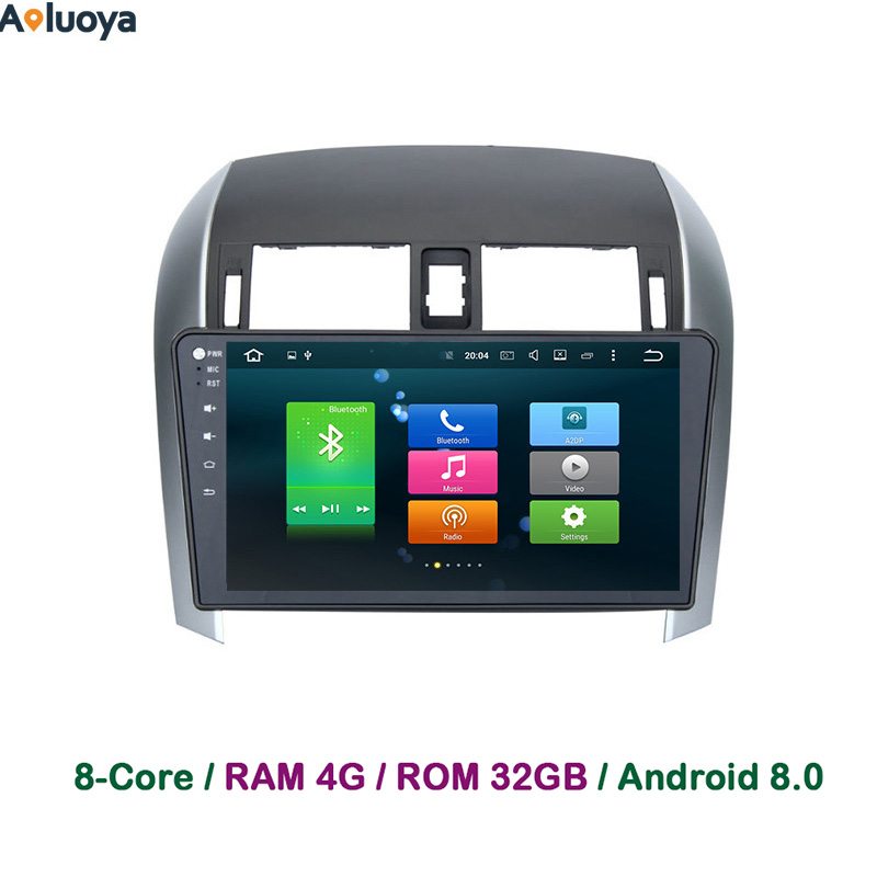 Aoluoya 4GB RAM Octa-Core Android 8.0 2 Din Car DVD Player For Toyota Corolla 2007-2012 Car Radio GPS navigation DAB WIFI BT OBD
