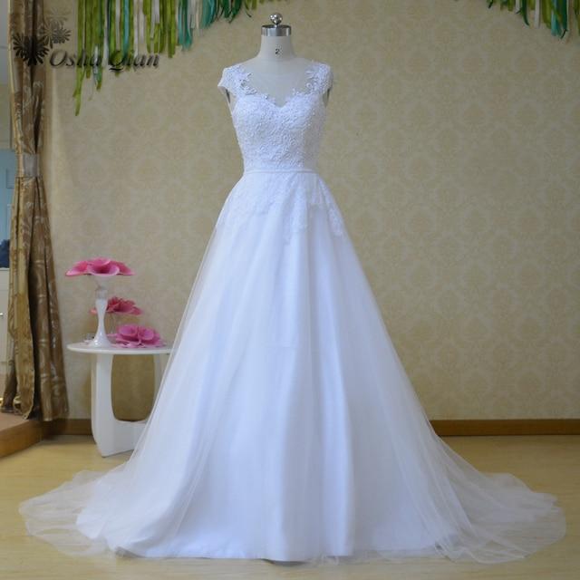2023eef830 Vestidos de boda 2017 Vestidos Blancos de Boda Coreanos Manga Cap Perlas  Encaje Vestidos de Novia