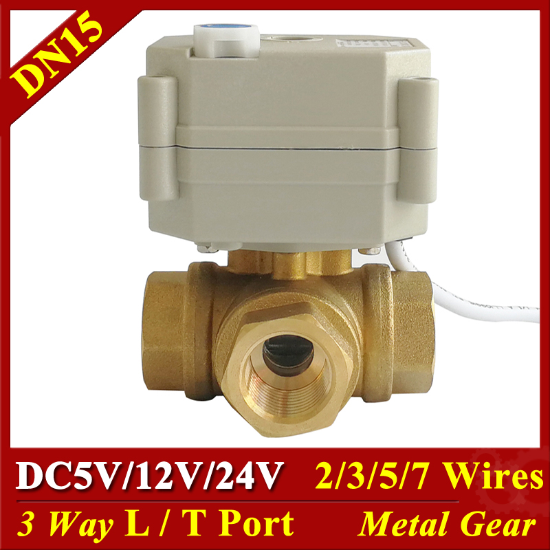 12V 24V Electric Valve DC5V DC12V DC24V 2 3 5 7 Wires 3 Way Brass DN15