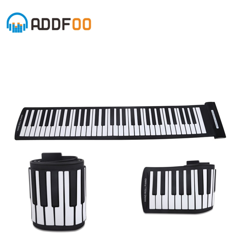ADDFOO Portable 61 touches Flexible retroussable Piano USB MIDI électronique silicone Flexible clavier main rouleau Piano orgue musique cadeau