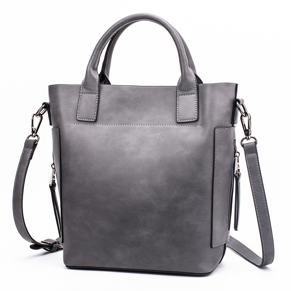 MIYACO Vintage leather handbag women casual Bucket bag tote bag Top hand bags high quality messenger bag Grey цены онлайн
