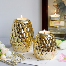 PINNY Nordic Diamond Plated Candlestick Silver Ceramic Candle Holders Wedding Decorations Home Decoration Accessories