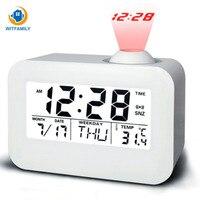 LED Projection Clock Speech Time And Temperature Digital Alarm Clock Control Backlight Luminous Calendar Snooze Voice