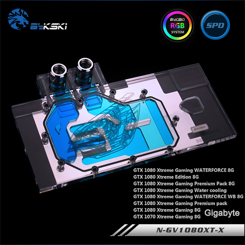 Bykski N-GV1080XT-X Full Cover Graphics Card Water Cooling Block RGB/RBW/ARUA for Gigabyte GTX1080/1070 XTREME цена