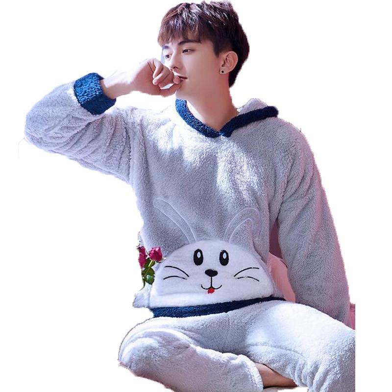 Winter Thickened Cute Sleeping Cartoon Hooded Coral Fleece Mens Pajama Set Lounge Suit Pyjamas Homme Pijama Hombre Homewear