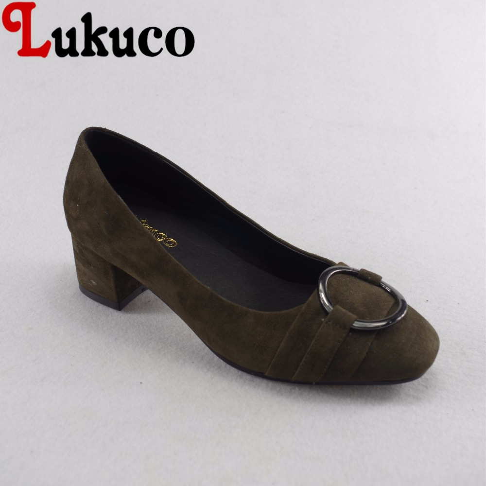 Lukuco mature style metal ring decoration women casual pumps microfiber made low heel shoes with pigskin inside lukuco pure color women mid calf boots microfiber made buckle design low hoof heel zip shoes with short plush inside