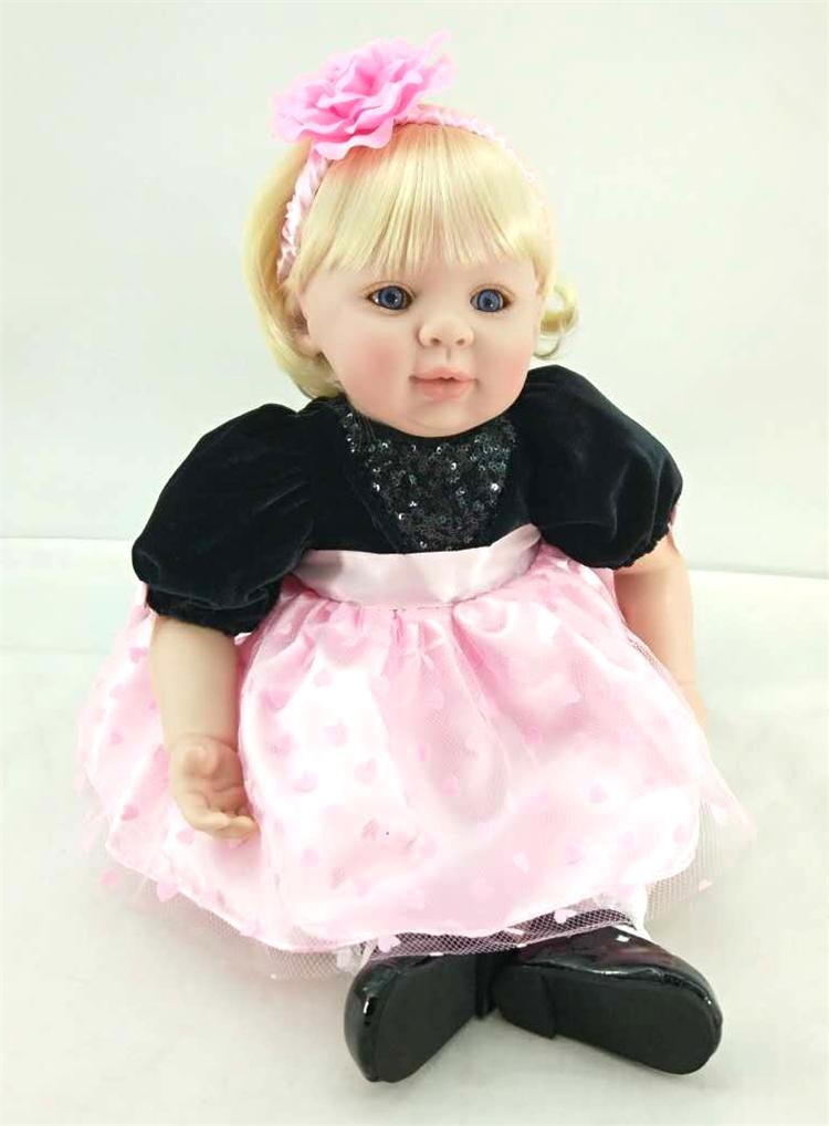 50cm Silicone Reborn Babies Doll Toys Lifelike Vinyl Lovely Toddler Smile Princess Baby Doll Child Birthday Present Girl Brinque 50cm silicone reborn babies doll toys lifelike vinyl lovely princess toddler doll kids birthday gift child girl brinquedos