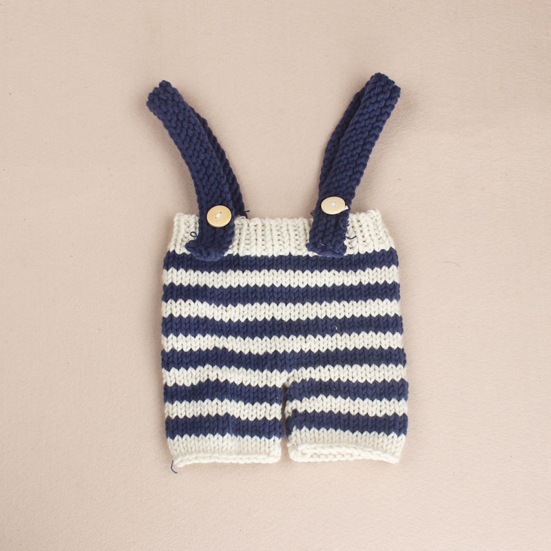 Newborn Baby Photography Props Blue Striped Costume Crochet Knit ...