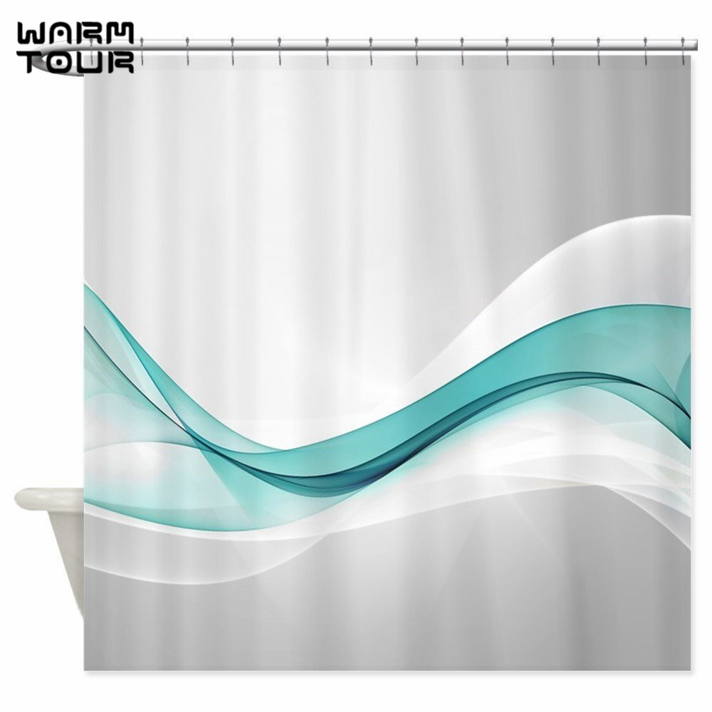 Warm Tour Teal Wave Abstract Shower Curtain Fabric Polyester Waterproof Mildew Resistant Bathroom Curtain WTC070