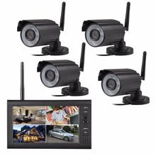 2.4G  digital  wireless   point  to  point   security  video  recorder  system  with  4pcs  cameras and 7 inch  LCD receiver