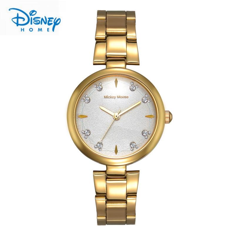 Disney Women Watches Luxury Gold Silver Stainless Steel Quartz Watch Fashion Casual Top Brand Ladies Watch Montre Femme Clock