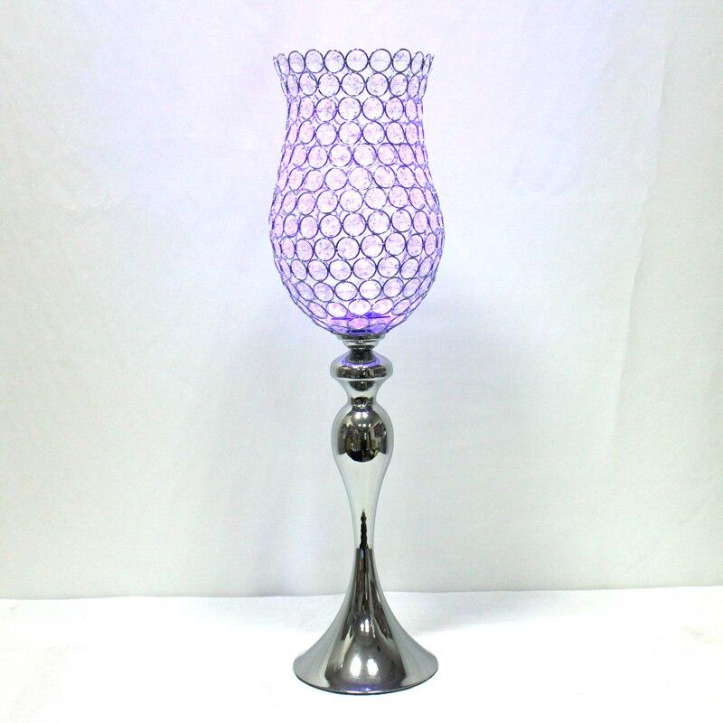 Metalni posrebreni svijećnjak Kristali Candelabra Vjenčani ukras - Kućni dekor - Foto 3