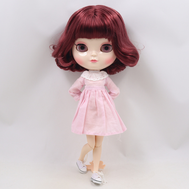 ICY Fortune Days factory doll azone joint body 30cm white skin Elegant wine red short hair DIY sd gift toy