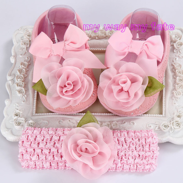 Baby shoes Christening Baptism girls Rhinestone Headbands Sets,Toddler Ballerina Slippers,Sapatos infantis meninas photo props