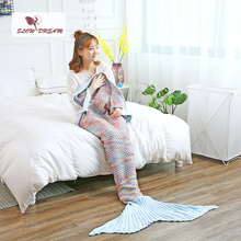 Slowdream Color Throw Mermaid Tail Blanket Knitted Handmade For Adult Kids Sofa Sleeping Bed Wrap Baby Gift Crochet Soft Blanket hollow out color block crochet knitting mermaid blanket for kid
