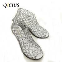QICIUS Summer Sandals Women Peep Toe Wedge Sandals Sweet Jelly Shoes Woman Shoes For Lady Size