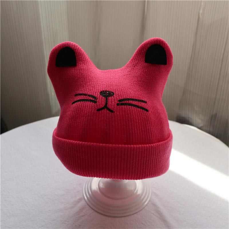 ทารกแรกเกิดหมวกเด็กน่ารักหมวกเด็กฤดูใบไม้ผลิฤดูใบไม้ร่วงฤดูหนาวการ์ตูนแมว Beanie หมวกถักเด็กหญิงสบายๆหมวกเด็กอุปกรณ์เสริม