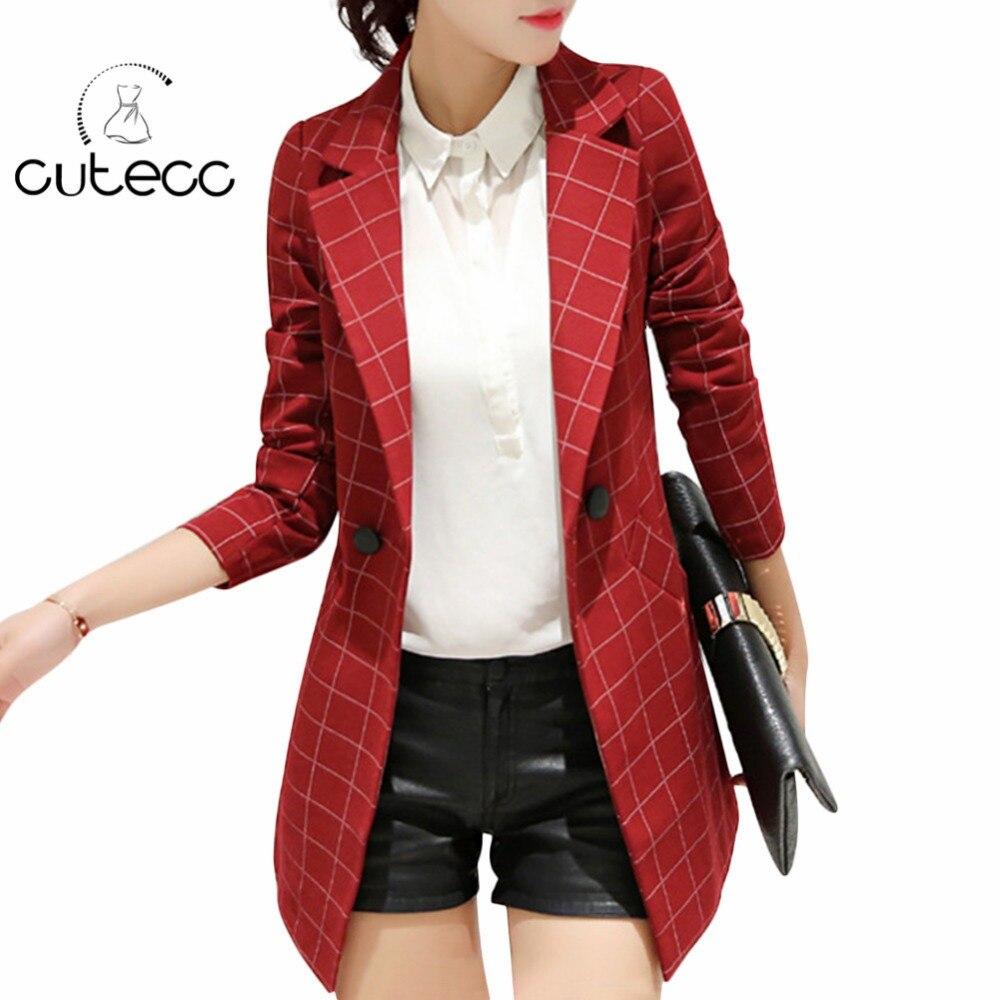 Plus size women formal officewear full sleeve England style plaid long blazers lady workwear slim peplum buttons blazer elegant
