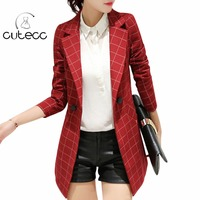 Plus size women formali officewear pieno sleeve Inghilterra stile plaid blazers lady workwear slim peplum bottoni giacca elegante