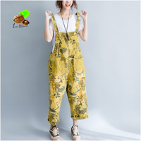 Summer Crotch Pants Women Loose Bib Pants Personalized Printed Hardcore Printed Cowboy Belt Pants Retro Art