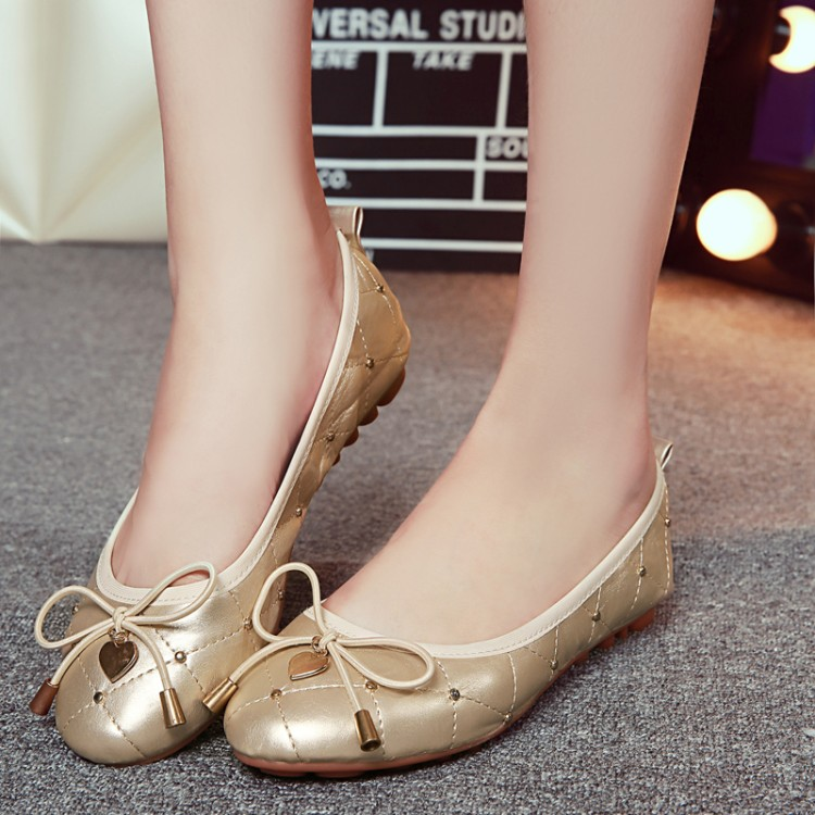Rivets decoration woman flats bow-knot ballerina flat portable travel fold  up shoes comfortable roll 057b2f7e28f5