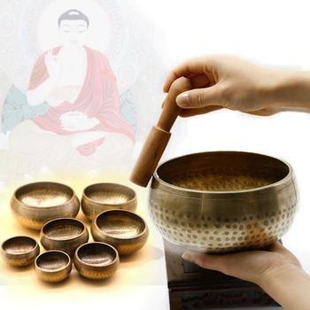 Buddyzm tybetański misa dźwiękowa ręcznie młotkowana joga miedź czakra medytacja miska tanie i dobre opinie Metal Indie Singing bowl Copper etc Various Yellow Mediation Yoga Therapy Wood striker China Aliexpress Epacket Express