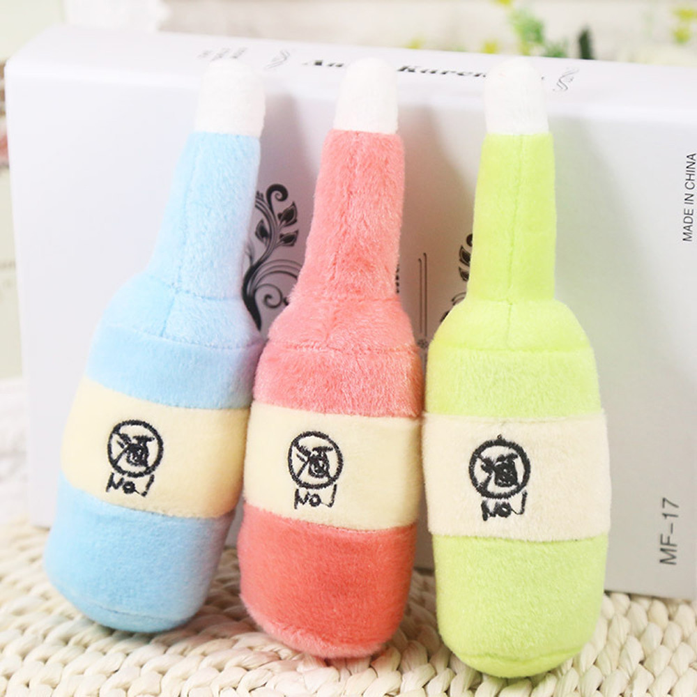 Pet Dog Toys Training Squeaky Sound Squeaker Stuffed Milk Bottle Shape Plush Dog Chew Toy Small Dogs Puppy Toys For Dogs