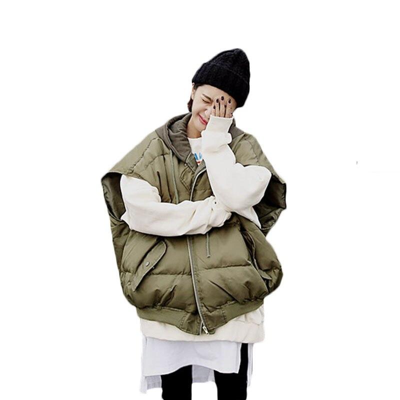 후드 짧은 코 튼 조끼 여성 느슨한 플러스 크기 아래로 코 튼 코트 조끼 2018 가을 겨울 새로운 솔리드 컬러 민소매 파커 lq380-에서조끼 & 조끼부터 여성 의류 의  그룹 1
