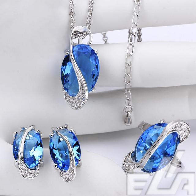 Verdadeiro banhado a ouro de presente da jóia nova marca Luz Azul Cristal CZ Forma Oval para o conjunto de casamento