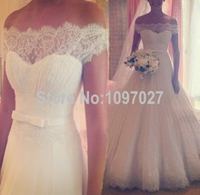 Ball Gown Boat Neck Sexy Wedding Dresses 2016 Top Quality Custom Made Lace Appliqued Modest Wedding