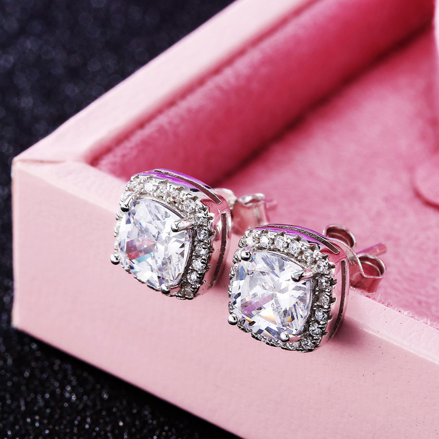 2016 S925 silver earrings inlaid 10mm 3 colors Square CZ diamond stud Earrings for women wedding jewelry birthday gift