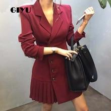 GIYU Spring Women Blazer Dress Office Lady Mini Dresses A-Line Vestido Sexy Skinny High Waist robe femme