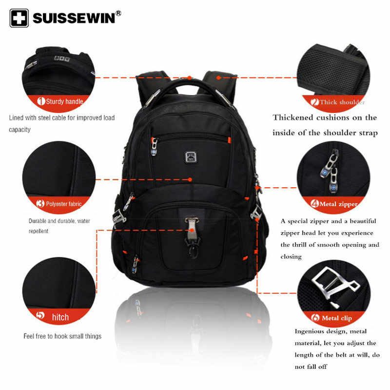 2019 Swiss large capacity school bags multi-function computer bag business travel water-repellent backpack